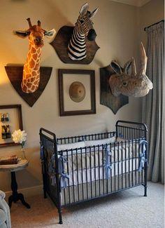 Love these animal heads- boy room