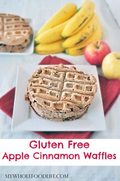Apple Cinnamon Waffles.  My kids love these!  Make a big batch and freeze them for easy breakfasts on busy school mornings! #vegan #glutenfree #waffles