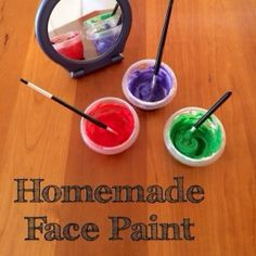 Homemade face paint for some messy fun from Left Brain Craft Brain.