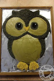 diy owl cake instructions- could make it white/gray