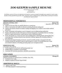 resume examples zoo