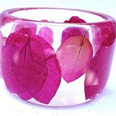 Botanical Bangle  Pink Bouganvillea