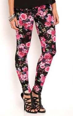 Deb Shops Leggings with Large Floral Print $16.00