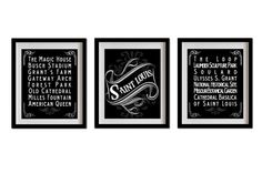St. Louis, Missouri, Typography Art Posters - Set of 3