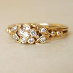 Antique Diamond Ring, Art Nouveau Diamond Flower & Leaves Ring, 14k Gold Antique Wedding Engagement Ring Size US 7. $485.00, via Etsy.
