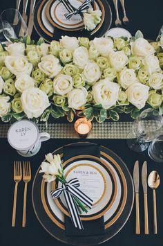 table settings, wedding receptions, centerpiec, white roses, black white, black gold, place, tabl set, flower