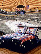 Aidan 39 s sports room by dreamawaytravel on pinterest for Hockey bedroom ideas
