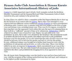 Dyman Judo Club Association & Dyman Karate Associates International: History of judo  - Contest is a vitally important aspect of judo. ource: http://dymanjudoclub.weebly.com/  More on Social Medias: https://foursquare.com/v/dyman-judo-club-association--dyman-karate-associates-international/529293db11d212db48ce6709 http://dymanjudoclub.livejournal.com/  Main Site: http://www.dymanjudoclub.com/