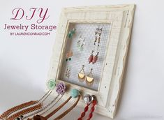 diy jewelry frame, I could make it for A with little ribbon streamer at the bottom for bows and barrets