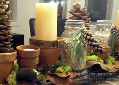 Pinecones and candles for rustic country decor