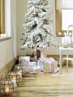 lantern, lumin light, christma tree, candl