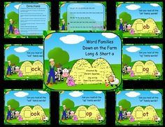 Word Families Down on the Farm Long & Short o (SMARTBoard Lessons)     The purpose of this activity is to help students with the reading of Word Families. $2.00