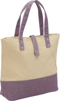 Magid Color Block Canvas Tote Natural/Purple -#fall l #fall #style #wiw #outfitideas #outfits #falloutfits #accessories