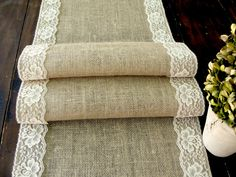 Wedding table runner burlap table runner with by HotCocoaDesign