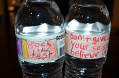 Motivational water bottle labels for testing week.  This teacher has 5 days worth of motivational testing treats.