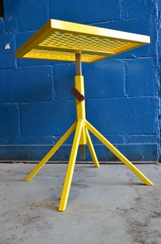 Adjustable patio end table  Bright Yellow by IndustryMfgCo