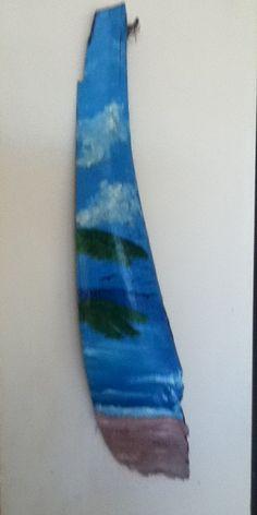 beach diy, beach hous, palm frond, palm art, paint palm, beach scenes