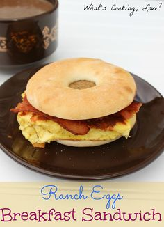 Ranch Egg Breakfast Sandwich.  A great and hearty breakfast sandwich made with creamy eggs cooked with cream cheese and flavored with ranch. The sandwich is made on a Bagel Thin and topped with bacon and sausage. #3SI  #spon #breakfast