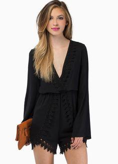 Black Long Sleeve V-neck Lace Hem Jumpsuit 23.59 // trip to Venice