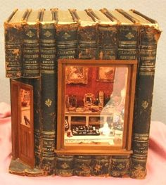 libraries, fairies, mini houses, fairy houses, altered books, doll houses, dollhouse miniatures, fairy homes, old books