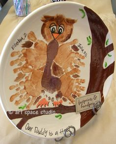 Well owl be .. that's the best gift idea! Hand and footprints make up our owl .. perfect for one to five children (think grandchildren!) fingerprint art, footprints, handprint potteri, hand and feet owl art, gift ideas, gifts, children, kid craftsidea, appreci gift