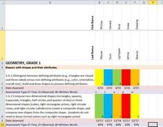 This is an excel spreadsheet that helps you track your students' progress on the first grade common core math standards. In the white sections of e...