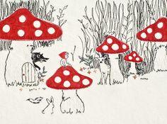 mushroom, kid style, red riding hood, ride hood, illustr, kid thing