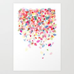 Watercolor Colorful Dots Falling Art Print by Yao Cheng Design - $18.00