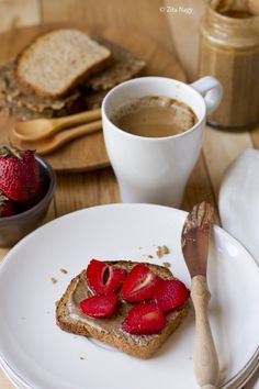 Almond butter toast with almond milk coffee