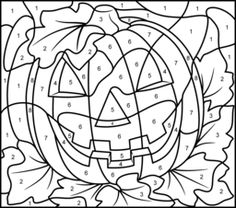 Halloween Pumpkin - Printable Color by Number Page - Hard - MANY IMAGES