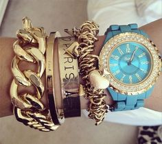 gold and blue stacking ♥✤ | Keep the Glamour | BeStayBeautiful