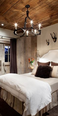 Rustic Bedroom rustic bedrooms, idea, guest bedrooms, wood ceilings, master bedroom, mountain homes, country bedrooms, bedroom interiors, bedroom designs