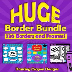 Borders and Frames: HUGE Border Bundle from Dancing_Crayon_Designs on TeachersNotebook.com -  (730 pages)  - Mega-Bundle of borders and frames.  Great for creating worksheets and teaching resources.