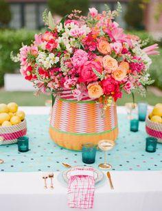 floral centerpieces, colorful flowers, polka dots, flower centerpieces, table arrangements, bright flower, summer weddings, green weddings, bright colors