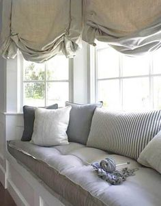 bay window curtains and soft seat Replace that yarn with a Martini and I'm in!
