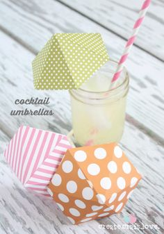 These DIY Cocktail  Umbrellas are easy to make and add some fun flare to any summer drink!