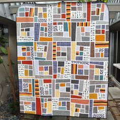 mosaics, camping, happi camp, modern fan quilts, quilt style
