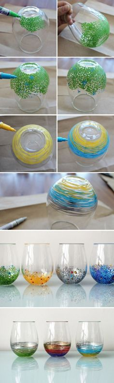 Just use paint pens on steamless wine glasses for a colorful look. Plus, stemless is safer if being shipped.