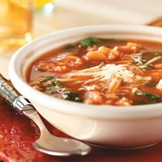 Gluten Free Spinach White Bean Soup.  Skip the cheese or use a vegan alternative.