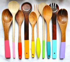 Paint dipped spoons