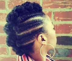 black woman braids to the side | braided mohawk hairstyles for black girls5