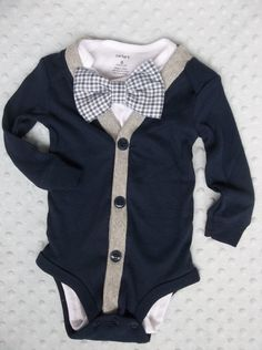 Baby Boy Cardigan Bowtie Onesie for a Preppy by groovyapplique