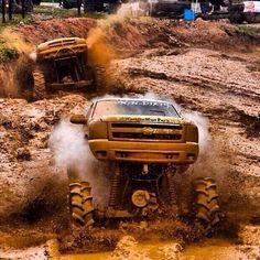Chevy and Dodge mud trucks