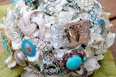 Brooch Bouquet Western Cowgirl Wedding turquoise by Rusticcreek