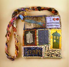 Patchworky Timey Wimey Doctor Who Bag by QuirkieCraft on Etsy