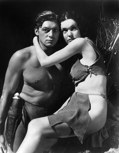"Johnny Weissmuller (Johnny Weissmuller - ) and Maureen O'Sullivan (May 17, 1911 - June 23, 1998), ""Tarzan and his Mate"", 1934 #actor"
