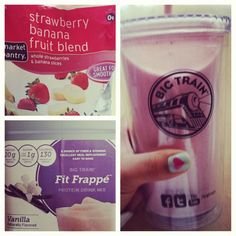 @Marian Bacol-Uba 's Strawberry Banana Protein Shake mixed with Vanilla #FitFrappe @marianthefoodie