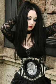 #Goth girl with anatomy corset