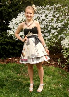 Newspaper trashion dress