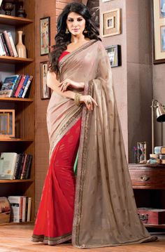 Eye Catching Hot Red and Beige Saree